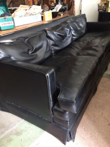 Vintage Mid Century Modern Leather Couch and Chair