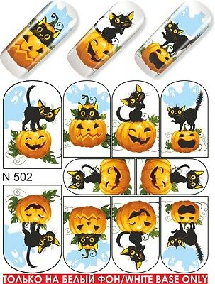 MILV # 502 Nail Art Water Transfers Decals Stickers Slider desing Halloween Cat](Halloween Nail Desings)