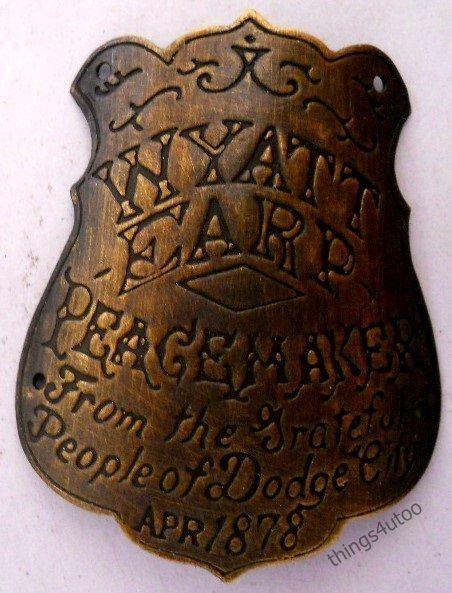 Wyatt Earp Peacemaker curved brass gun grip butt tag badge #2409T