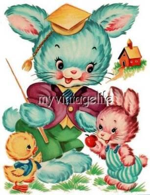 Vintage Baby Nursery Bunny and chic Quilting Fabric Block 5x7 n1012, usado segunda mano  Embacar hacia Argentina