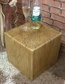 HAND MADE SOLID RUSTIC OAK BEAM CUBE COFFEE TABLE / SIDE TABLE