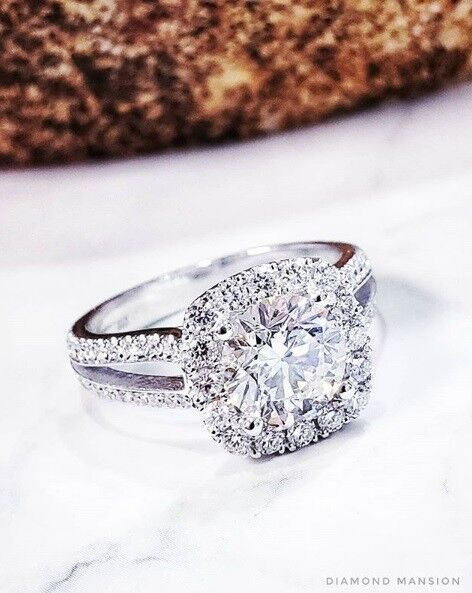 Natural Round Cut Halo Split Shank Pave Diamond Engagement Ring