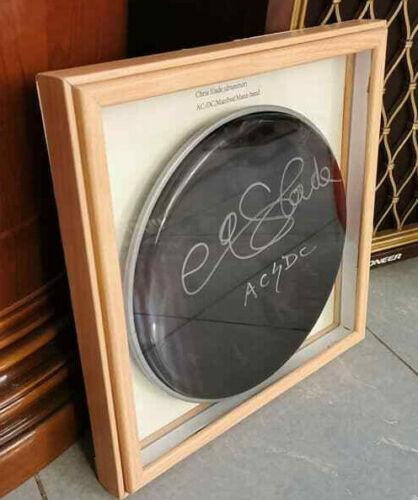 AC/DC CHRIS SLADE SIGNED DRUMHEAD(10 inch) Framed(13x13 inch)