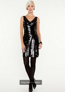 Sequin v neck cocktail dress