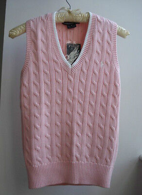 Cable V-neck Sweater Vest - NWT Polo Ralph Lauren Golf Size S Pink V Neck Cable Knit Vest Sweater