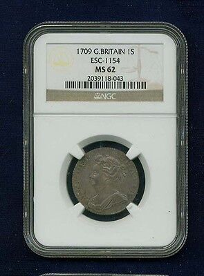 G B  England Anne  1709 1 Shilling Silver Coin  Uncirculated  Certified Ngc Ms62