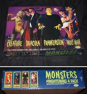UNIVERSAL MONSTER 4 PACK BY AURORA + 2. ACCESSORY MODEL KITS.