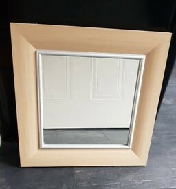 Square Wood Framed Mirror
