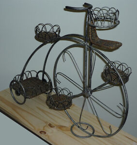 Tricycle Iron & Wicker Plant Stand .. Excellent Condition ..