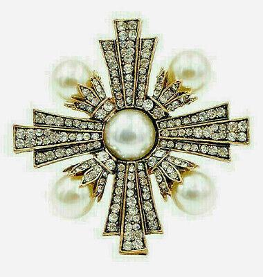 High End GOLD & PEARL Maltese CROSS Clear Rhinestone Retro Vintage Brooch ()
