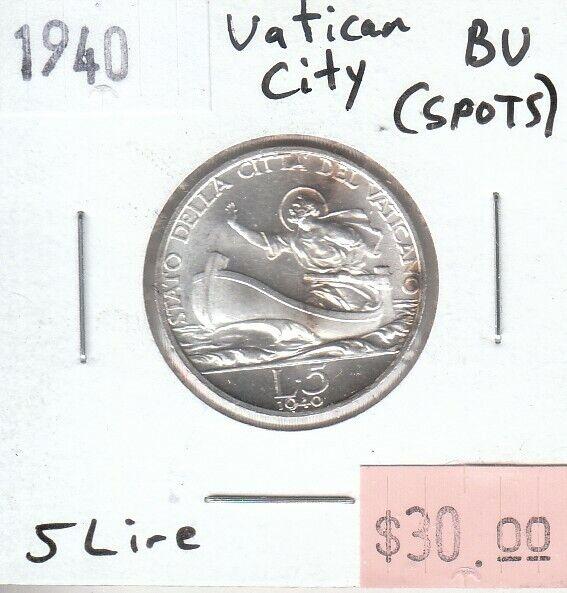 Vatican City 5 Lire 1940 Silver UNC Uncirculated