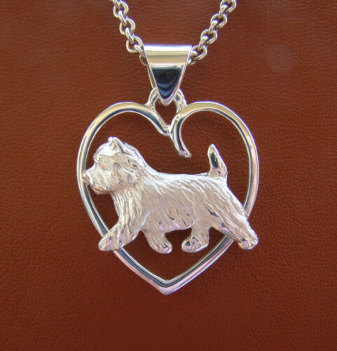 Small Sterling Silver Cairn Terrier Moving Study On A Heart Pendant
