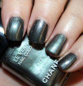 CHANEL Vernis BLACK PEARL 513 Silver Pewter Grey Green Metal Nail Polish BNIB!!!