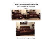 2 x Leather electric recliner sofas