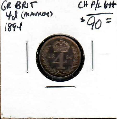 1894 Great Britain Maundy Four Pence toned BU