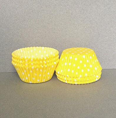 Yellow Cupcake Wrappers (Yellow Polka Dot Cupcake Liners, Yellow Cupcake Wrappers, Yellow Baking)