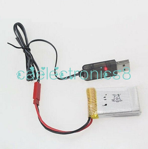 1S Lipo Lithium Battery USB Cable Charger 3.7V 500mA Output Red JST Female Head