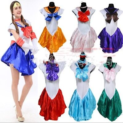 Halloween Costume Sailor Moon Costume Cosplay Uniform Fancy Party Dress & Gloves