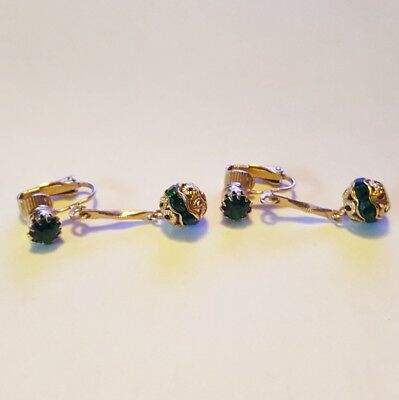 Vintage 50's Gold-tone Green Stone Dangle Clip On Fashion Earrings