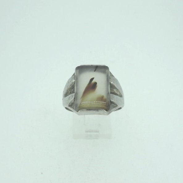 Vintage Sterling Silver Split Shank Montana Moss Agate Ring Size 12 1/2