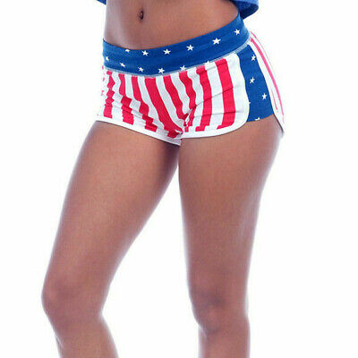 USA American Flag Womens Sporty Shorts Patriotic Beach Booty Miami Style