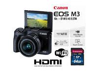 Canon EOS M3 + EF-M 15-45mm IS STM Lens + 64GB SDXC Bundle