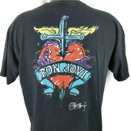 Hard Rock Bon Jovi Band T Shirt Men Size Large Houston Big Print Dagger in Heart