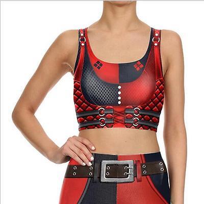 Woman Crop Top Harley Quinn Super Hero printed vest sleeveless tank S-XL - Superhero Crop Top