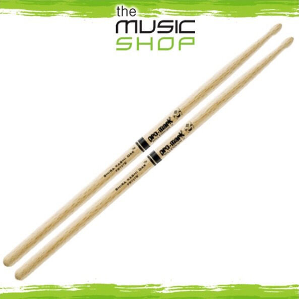 Set of Promark Shira Kashi Oak 727 Drumsticks with Oval Wood Tips