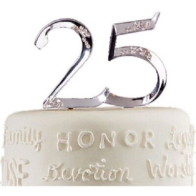 Anniversary 25th 25 Cake Topper Pick Wilton with Rhinestones-Or 25th Birthday
