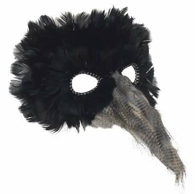 ADULT CROW RAVEN BIRD PLAGUE DOCTOR FEATHER VENETIAN COSTUME MASK BEAK BLACK