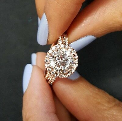 2.10ctw Natural Round Halo Pave Diamond Engagement Bridal Set - GIA Certified 1