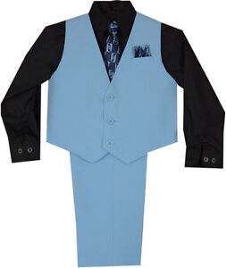 New-Baby-Boy-Toddler-Easter-Formal-Party-Blue-Vest-Suit-12M-18M-24M