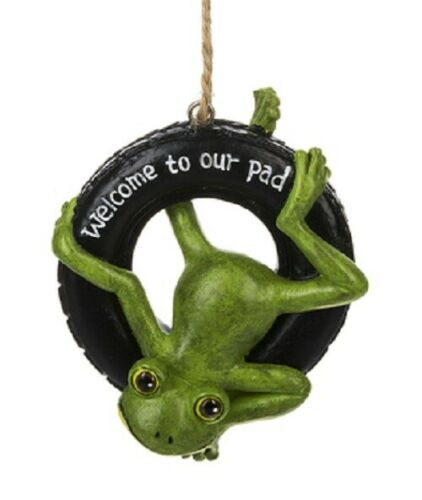 "Ganz Message Frog on Tire Swing ""Welcome To Our Pad"" Ornament Rope Hanger"