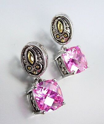 Designer Style Balinese Silver Gold Pink Quartz CZ Crystal Petite POST (Crystal Post Style Earrings)