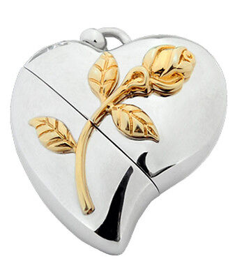 Heart Shaped w. Rose Design, USB Brass Funeral Cremation Urn Pendant Necklace Rose Design Urn