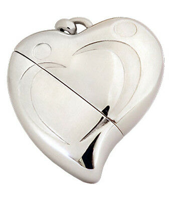 Heart Shaped Usb (Heart Shaped w. Silver Design, USB Brass Funeral Cremation Urn Pendant Necklace)