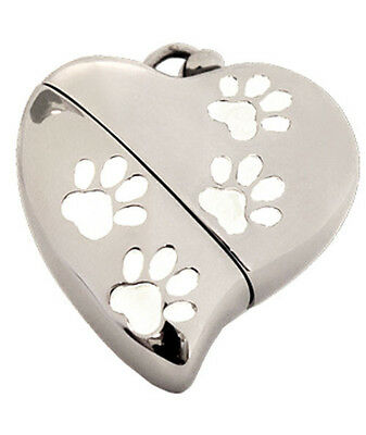 Heart Shaped Usb (Heart Shaped w. Paw Design, USB Pet Brass Funeral Cremation Urn Pendant Necklace)