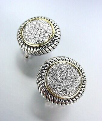 Gold Omega Post Earrings - GORGEOUS Round Silver Cable Gold Crystals Omega Post Earrings