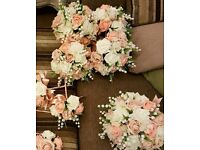 Set of 7 bridal bouquets - silk flowers in peach and cream
