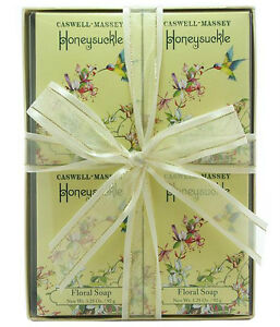 Caswell Massey Honeysuckle Floral Soap 4 3.25 oz Bath Bars Gift Boxed