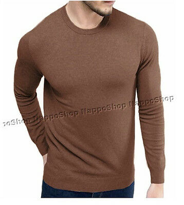 Pullover uomo maglia primaverile leggera attillata slim fit girocollo marrone S