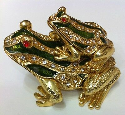 Bejeweled Frog - BEJEWELED FROG CARRY BABY FROG STATUE FIGURINE TRINKET JEWELRY BOX