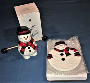 Jolly Snowman Candy Jar and Cookie Plate