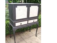 "Vintage Shabby Chic Queen Anne legged Cupboard in Annie Sloan ""Graphite"" Chalk Paint"