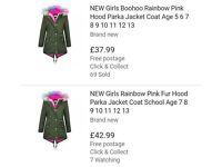 Girl's Fleece-lined Parker Coat with detachable rainbow fur collar - Age 7-8