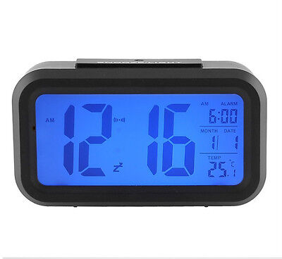 New digital LED alarm clock snooze light control backlit time (without battery)