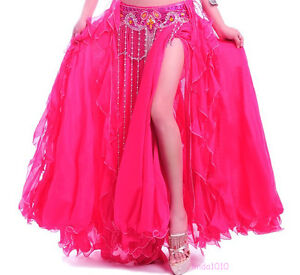 New-Belly-Dance-Costume-2-layers-with-slit-Skirt-Dress-11-colors