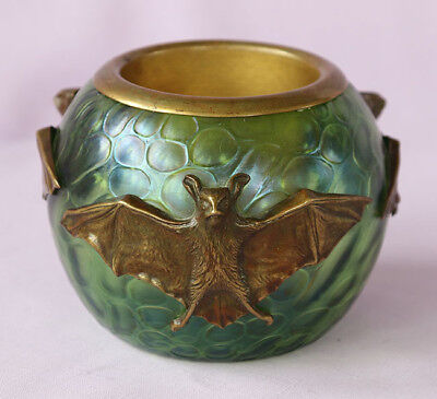 """19th Century Austria - Antique 5"""" Green Glass Vase with BATS Overlay"""