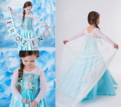2015 Frozen Princess ELSA Snowflake Costume Dress Cosplay Party Dress up
